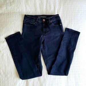 Lands End Mid Rise Slim Jeans, Dark Wash